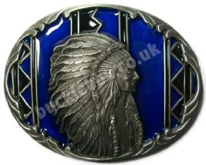 INDIAN CHIEF (4) Belt Buckle + display stand